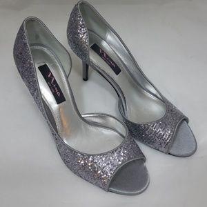 Nina silver heels store display sz 9 women